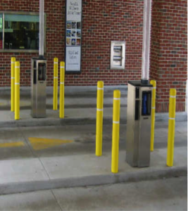 signage, bollards, and car stops